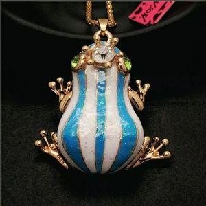 New Betesy Johnson blue frog necklace